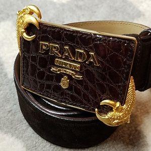 AUTHENTIC Prada Dragon Claw Suede Belt RARE PIECE